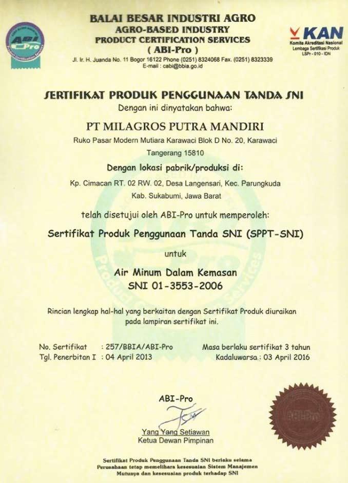 sertifikasi Milagros SNI
