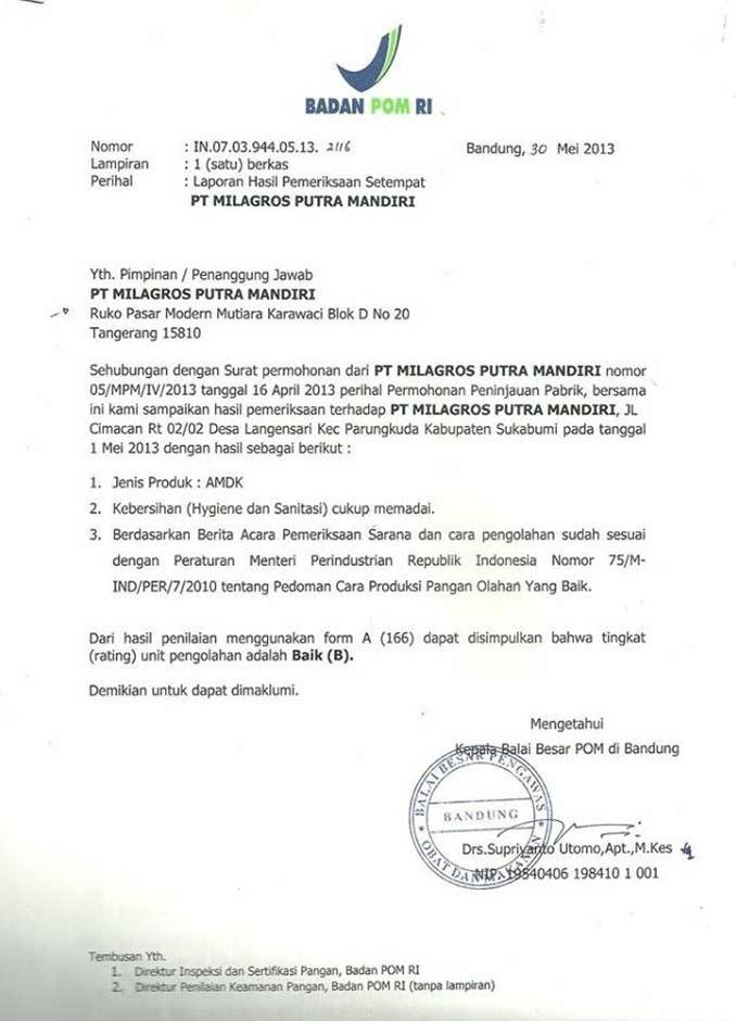 sertifikasi Milagros BPOM RI