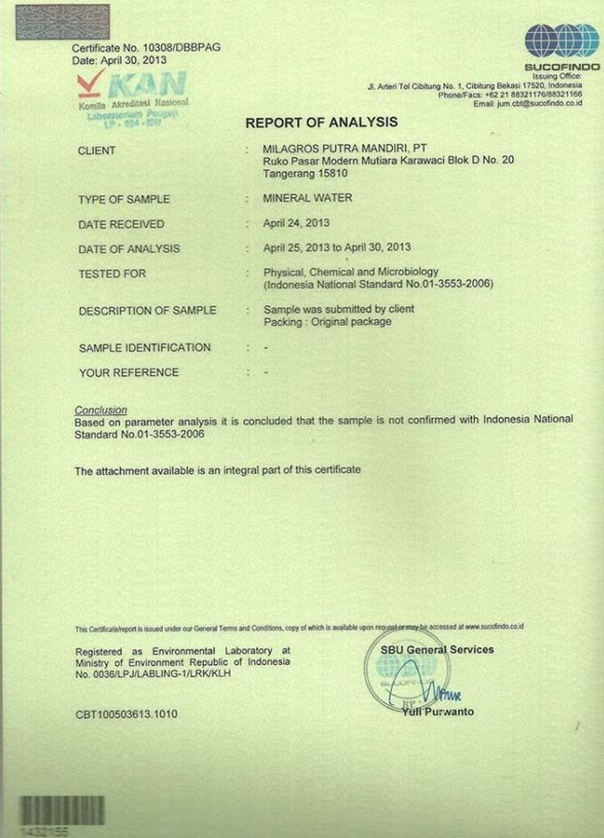 sertifikasi Milagros Sucofindo